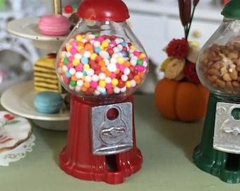 Miniature Gumball Machine, Filled Gum Ball Machine, Dollhouse Miniature, 1:12 Scale, Dollhouse Accessory, Decor, Topper, Crafts