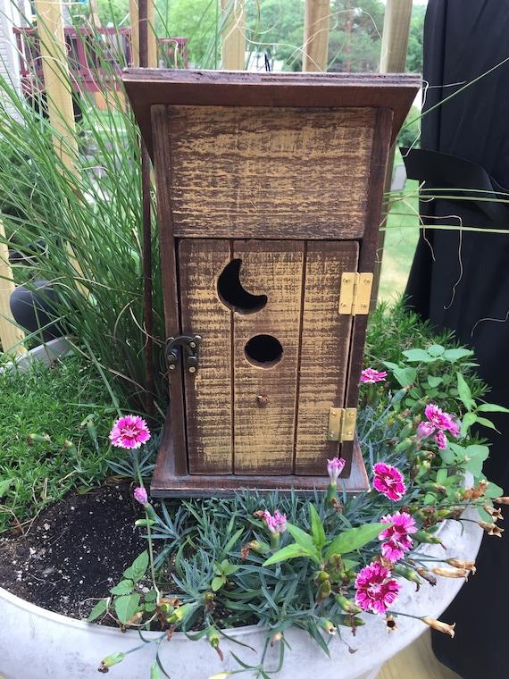 Outhouse Birdhouse, Home and Garden Decoration, Wood Birdhouse, Hinged Door, Moon Cutout, Birdhouse