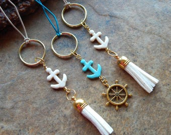 Anchor leather tassel charm Nautical zipper pull cute car accessory rear view mirror dangle key chain purse charm jewelry turquoise white