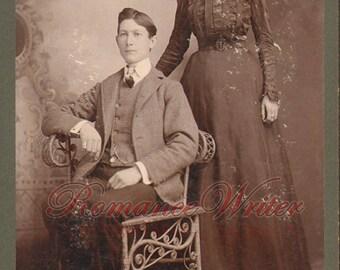 Serious Couple Long Dress Suit Bow Vintage Photo M05903 WJ Moose's Art Car 1890s