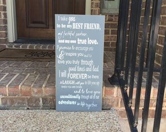 I Take You To Be My Best Friend Custom Wedding Vows Sign Ten Year Anniversary ~ Here comes the Bride Aisle Sign ~ Personalized Wedding Gift