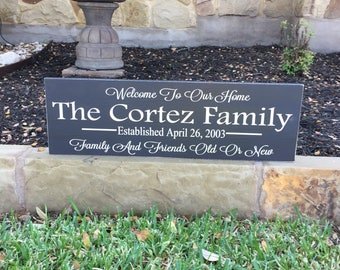Personalized Welcome Sign ~Welcome To Our Home ~Family Name Plaque Wooden Signs ~Last Name Established Sign ~Housewarming Gift ~Porch Sign