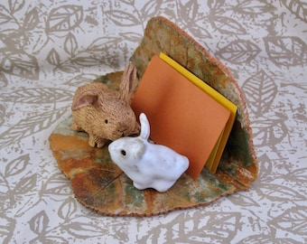 Two Rabbits Clay Business Card Holder - Made with a Real Geranium Leaf - Handmade Bunnies - Holds over 50 Cards or Recipes - Desk Accessory