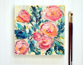Among Roses, Oil Painting, Floral Painting, Flowers In Oil, 10x10