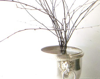 Antique Silver Champagne Bucket. French Farmhouse Holiday Planter. Ornate Lion Head Ring Handles. Gadrooned rim. 1940s. Poole Silver Co
