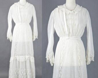 1910s Edwardian Tea Dress, Antique White Cotton Batiste Lace Dress, Edwardian Day Dress, Medium