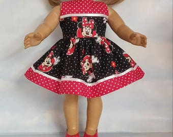 18 inch doll clothes - Minnie Mouse Dress made to fit the American Girl Doll - FREE SHIPPING