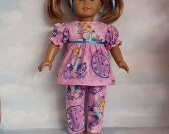 18 inch doll clothes - Pink Cinderella Pajamas handmade to fit the American Girl Doll - FREE SHIPPING USA