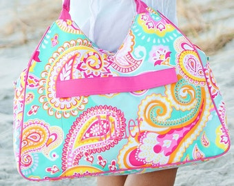 Summer Paisley Beach Bag fast ship Large Tote Monogrammed Ships Same Day