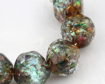 Glittered Amber Nugget  Lampwork Bead Set