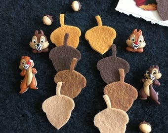 Chipmunk Buttons-Cartoon Character Chipmunks Embellishments-Acorns-Iron On Appliques-Planner Accessories-DIY Maker Kits-Fall Decorations