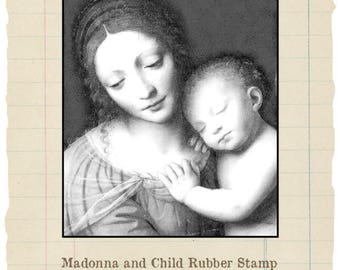 Madonna and Child unmounted rubber stamp