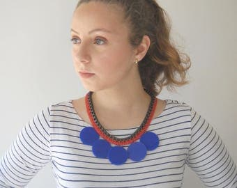 Statement Necklace, Red and Blue Necklace, chunky chain Fan necklace, Trendy jewelry by naama brosh, Unique necklace for women
