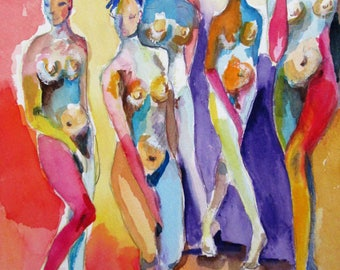 abstract Nudes colorful watercolor painting 14x10 Art by Delilah