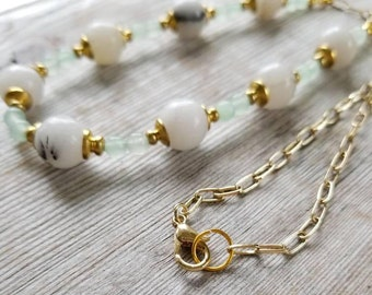 White Jade Necklace - White Stone Necklace - Jade Necklace - White and Gold Necklace - Jade Beaded Necklace - White Bridal Necklace