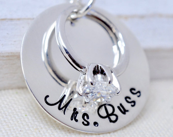Personalized Wedding Ring Necklace - Gift for New Bride, Anniversary Gift, Gift for Her, Custom Necklace, Wedding Gift, Bridal Shower Gift