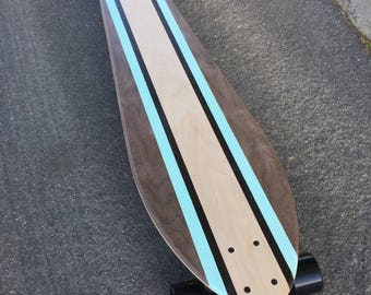 "LONGBOARD Made of Solid Wood with Blue Stripes - ""Blue Sands"""