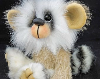 May the Raccoon, a mohair and faux fur Artist Bear By Bears of Bath  5.5 inches