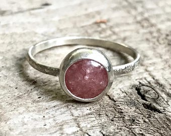Round Sparkly Strawberry Quartz Sterling Silver Solitaire Ring with Patterned Ring Band | Engagement Ring | Wedding Ring | Quartz Ring