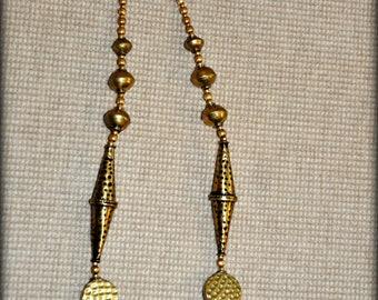 """Tibetan Hammered Brass Necklace 19"""""""