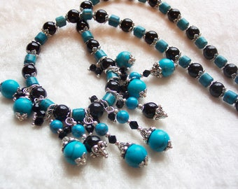 Blue Black Necklace, Faux Turquoise Bib Necklace, Silver Accent Necklace, Blue Necklace, Black Necklace, Turquoise Necklace, Statement Bib