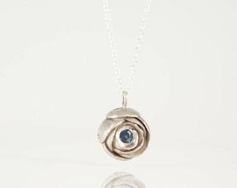 Sterling Silver Necklace Flower Pendant, Blue Sapphire Pendant, Gemstone Pendant Necklace, September Birthstone Necklace Rose Flower Je