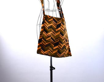 Large Chevron Carpet and Vinyl Tote Bag - MUST SEE