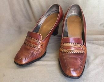 Vintage 70's Shoes, Size 6.5 Rust Brown High Heel Loafers, Stacked Wood Heel, Preppy Schoolgirl 70's High Heels