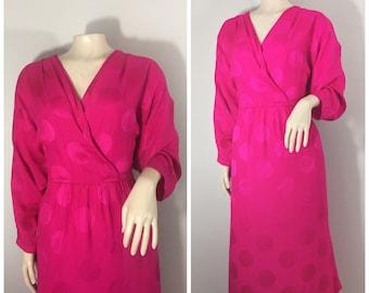Pink Silk Liz Claiborne Dress // Embossed Circle Design // Silk Fuchsia Vintage Dress