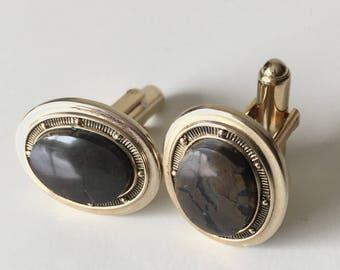 Vintage Agate Stone Cufflinks