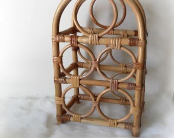 Bamboo Wine Rack, Vintage Wicker Wine Rack, Boho Wine Rack, Jungalow Rattan Wine Rack, Boho Decor, Barcart Decor, Hostess Gift