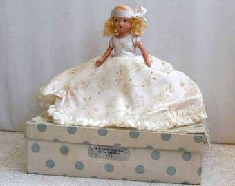 Nancy Ann Storybook Doll With Box, Bisque Doll of the Month, A February Fairy Girl for Ice and Snow #188, Blond Hair, Vintage 1940s Doll
