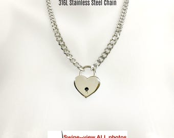 BDSM Collar Submissive 316L Stainless Steel Chain and LARGE Heart Padlock Slave Day Collar Choker or Necklace