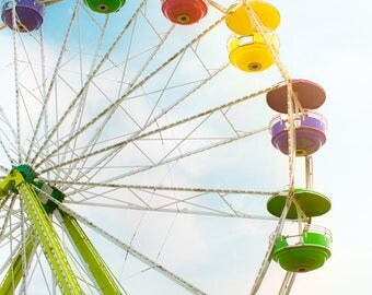 Ferris Wheel Photo, Carnival Art, Modern Wall Print, Shabby Chic Decor, Summer Art, Vibrant Colors, Colorful, Home Decor, Nursery Decor