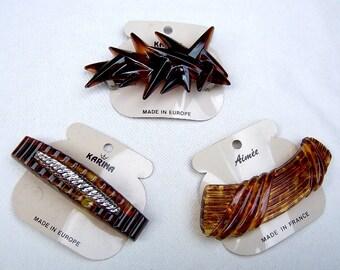 3 vintage faux tortoiseshell hair barrette Karina 1980s hair slide hair clip hair ornament hair jewelry (ABI)