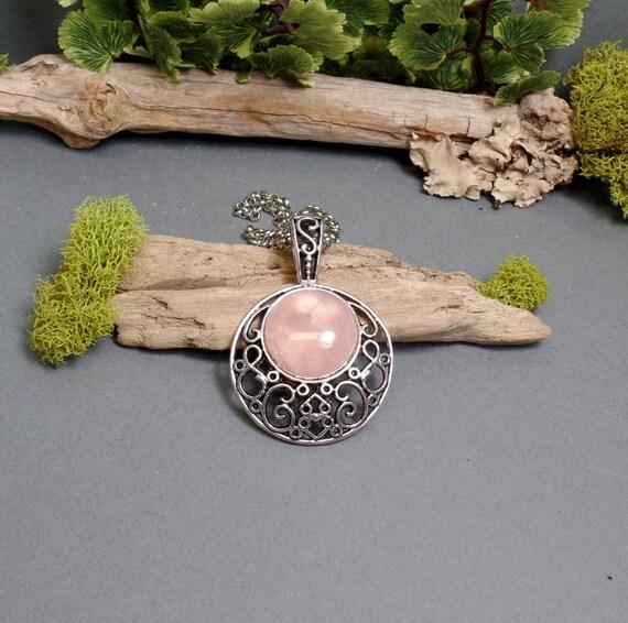 Rose Quartz Moon Necklace - Pink Moon - Gemstone Necklace - Crescent Moon Necklace