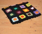 Amazing Vintage Patchwork Granny Quilt Woven Knit Blanket Medium Size In Black & Rainbow Of Colors