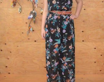 Vintage 90's Sheer Floral Bird Summer Maxi Dress In Black & Teal SZ M