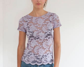 Dior lilac lace top - fitted lavender lace tee - Christian Dior - XS/S