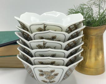 Vintage Ceramic Lotus Bowls, Rice Bowls, Brown and White, Set of 6, Japanese Decor