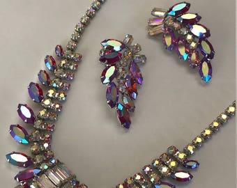 Vintage B. David signed red aurora borealis rhinestone necklace and earrings set
