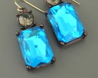 Vintage Inspired Earrings - Peacock Blue Earrings - Colorful Earrings - Rhinestone Earrings - Drop Earrings - Handmade Earrings