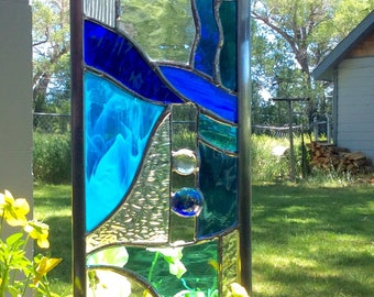 2 Blue STAINED GLASS GARDEN Stakes - Special deal on two!