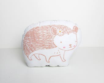 Plush Hedgehog Shaped Throw Pillow.  Choose Any Color. Hand Woodblock Printed to Order. Takes 1 week to make.