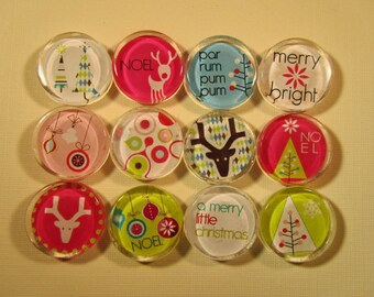 Christmas Decorations Fridge Magnets, Set of 12 Holiday Refrigerator Magnets with Storage Tin