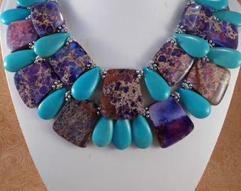 Chunky Western Statement Necklace Set - Purple Variscite and Turquoise Howlite - Tribal