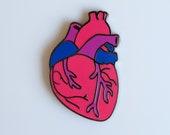 Bisexual Heart Enamel Pin Anatomical Heart Pin Weird Goth Pan Flag Pink Blue Purple