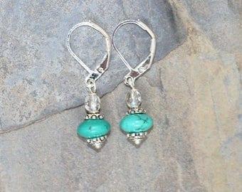 Magnesite Earrings, Stone Earrings, Turquoise Blue Earrings, Handmade Earrings, Turquoise Earrings, Rustic Earrings, Bohemian Earrings