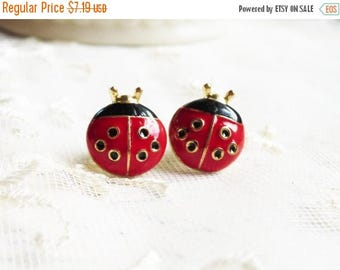 MOVING SALE On Sale Fly Away Home, Enamel Red and Black Ladybug Ladybug Post Pierced Earrings by Hollywood Hillbilly