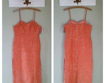 Vintage 1980s Evening Dress, Metallic Orange Fabric, Fitted, Spaghetti Straps, Size S/M, #60155